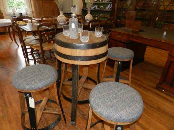 Whisky Barrel Table and 4 Stools